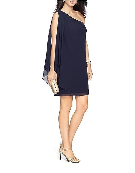 Lauren Ralph Lauren Draped Georgette One Shoulder Dress Lighthouse Navy  Blue Size 6