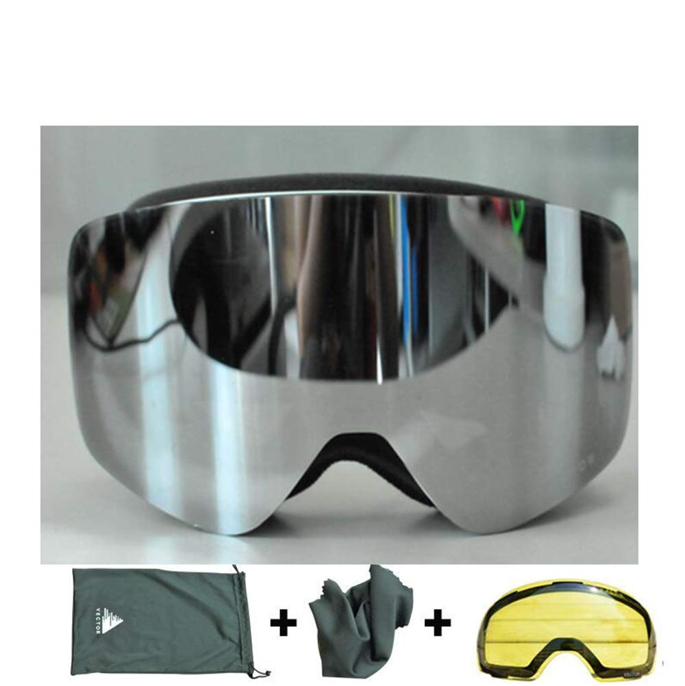 Silver One Size Makvio Ski Goggles Double Lens UV400 AntiFog Women Men Snowboard Skiing Glasses Snow Eyewear with Additional Lens