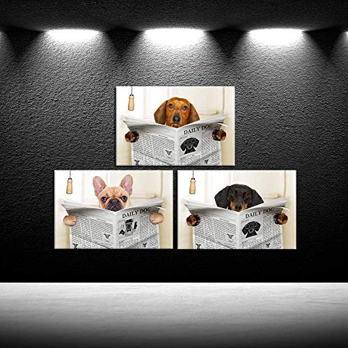 iKNOW FOTO 3 Piece Funny Animals Canvas Wall Art Dogs Read Newspapers Poster Prints Giclee Artwork Stretched and Framed Ready to Hang for Bathroom Walls Decor 16x24inchx3pcs