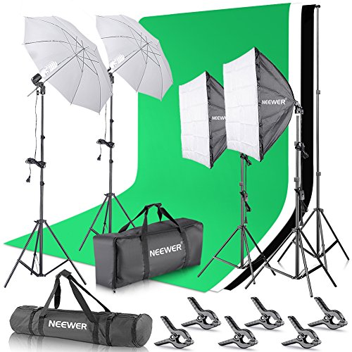 (Neewer 8.5 x 10 feet / 2.6 x 3 Meters Background Support System with 10 X 20 feet/3 X 6 Meters Backdrop 800W 5500K Umbrellas Softbox Continuous Lighting Kit for Photo Studio Video Shoot Photography)