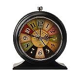 LauderHome 5-Inch Vintage Retro Old Fashioned Decorative Desk Clock with Nightlight , Quartz Analog Large Numerals , Battery Operated, Loud Alarm Clock