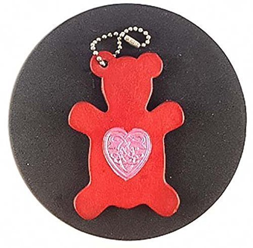 [Teddy Bear Celtic Heart Red Leather Keychain] (Costume Rings Dublin)