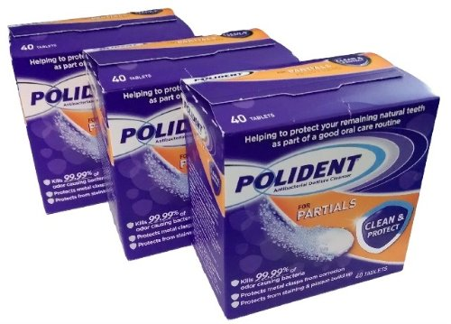 Polident Partials Denture Cleanser, 40 Count (Pack of 3) by Polident