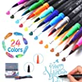 LOBKIN Dual Markers Calligraphy Brush Pen, Dual Tip Pastel Colored Pen Fine Point Brush Tips & Colored Fine Point Pen Set for Lettering Writing Coloring Drawing,Planner Art Supplier 24 Pack Colors