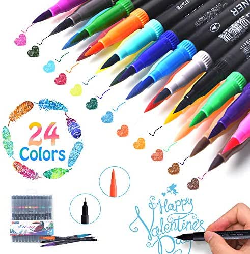 LOBKIN Dual Markers Calligraphy Brush Pen, Dual Tip Pastel Colored Pen Fine Point Brush Tips & Colored Fine Point Pen Set for Lettering Writing Coloring Drawing,Planner Art Supplier 24 Pack Colors (A)