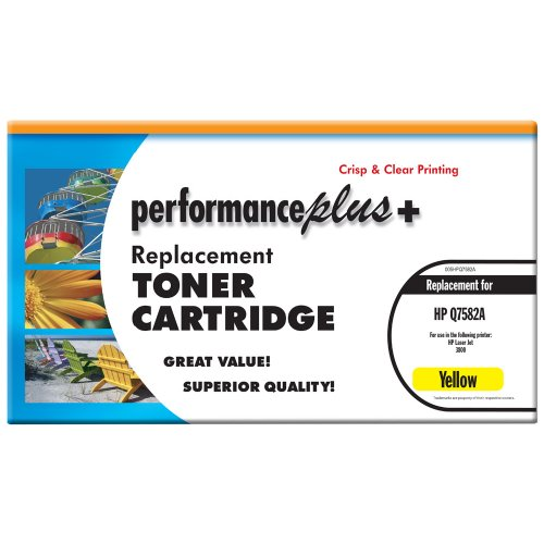 Laser Q7582a Yellow - Performance Plus Remanufactured Q7582A Yellow Laser Toner Cartridge, Qualtity, Clear, Crisp Printing