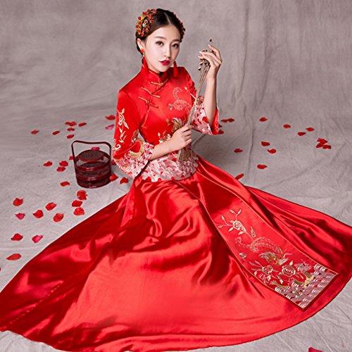 Xiu Alti Di Wo Vestito Cinese Cerimonia Brindisi Sposa Grasso Mm Donne Cheongsam Rosso Gravidanza un Cinghie xl Grandi Nuziale Dididd d0v4q7nd