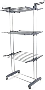 Clothes Drying Rack,3 Tier Rolling Dryer Clothes Hanger,Collapsible Garment Laundry Rack and Casters Indoor/Outdoor,Large Standing Rack Stainless Steel Hanging Rods (Gray