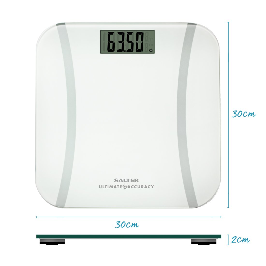 White Measurement 50 g Increments Salter Ultimate Accuracy Electronic Digital Bathroom Scales