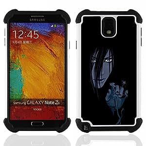 BullDog Case - FOR/Samsung Galaxy Note3 N9000 N9008V N9009 / - / Evil Anime Girl /- H??brido Heavy Duty caja del tel??fono protector din??mico - silicona suave