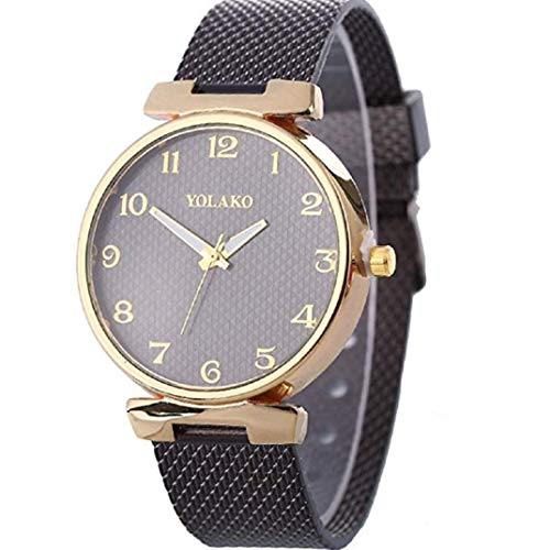 TOPOB Women's Analog Quartz Watch, Round Metal Stainless Steel Dial Chic and Stylish Casual Watch (Black) Dial Metal Quartz Watch