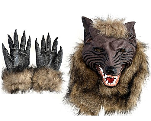 Toparchery Natural Latex Wolf Mask with 1 Pair Werewolf Hands Gloves (Wolf Masks For Adults)