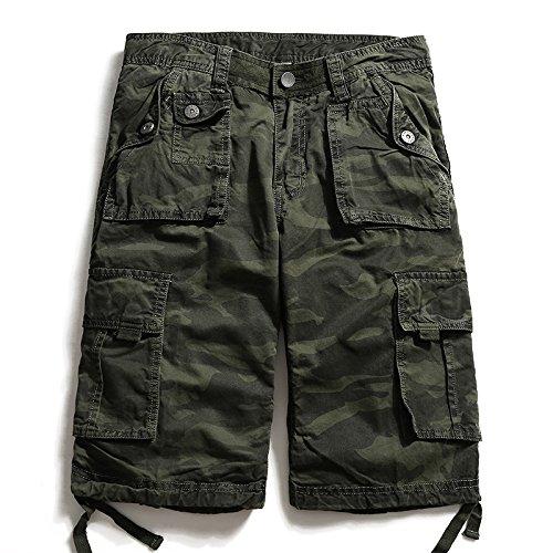 WDDGPZDK Strand Shorts/Sommer Knielange  Herren Casual Camouflage Hosen Tooling Gerader Shorts Cargo Short Multi-Tasche Vier Farben