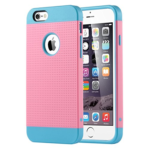 ULAK 2-in-1 Hybrid Case Compatible with The iPhone 6 (2014) iPhone 6S (2015) 4.7-inch - Soft TPU and Hard PC Cover [Light Blue/Pink]