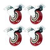 YaeTek 4 Pack Caster Wheels Swivel Plate Stem Break Casters On Red Polyurethane Wheels Heavy Duty Total 1,600LBS Set of 4 (4 Inch with Brake)