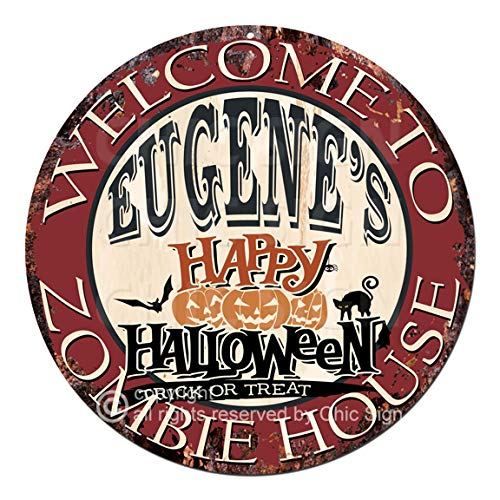 Welcome to The Eugene'S Happy Halloween Zombie House Chic Tin Sign Rustic Shabby Vintage Style Retro Kitchen Bar Pub Coffee Shop Man cave Decor Gift Ideas -