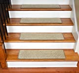 Dean Ultra Premium Stair Gripper Non-Slip Tape Free Pet Friendly DIY Stainmaster Nylon Carpet Stair Treads/Rugs 30'' x 9'' (15) - Color: Vellum Beige Tweed