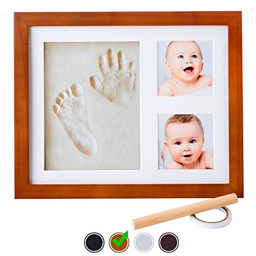 Little Hippo Baby Footprint  Handprint Kit – NO MOLD FRAME! Baby Picture Frame (BROWN)  Non Toxic CLAY! Unique Baby Gifts Personalized for Baby Show…