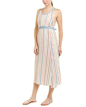 8339449e053 Amazon.com  BCBGMAXAZRIA Womens Striped Linen-Blend Wrap Dress