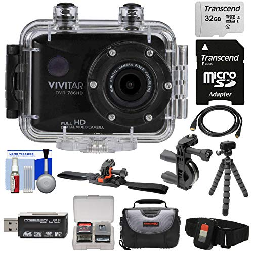 Vivitar DVR786HD 1080p HD Waterproof Action Video Camera Camcorder (Black) with Remote, Vented Helmet & Bike Mounts + 32GB Card + Case + Tripod Kit