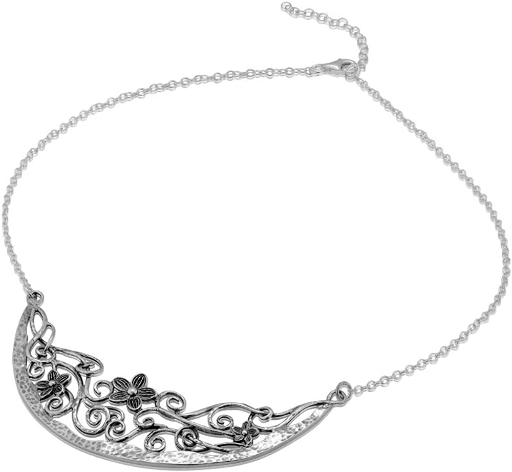 925 Sterling Silver Jewelry Set by Paz Creations Made in Israel Flower on Vine Design Pendant Necklace and Drop Earring Set