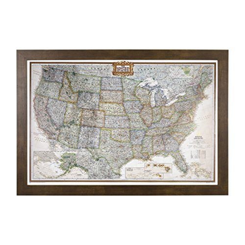 (Push Pin Travel Maps Executive US with Rustic Brown Frame and Pins 24 x 36)