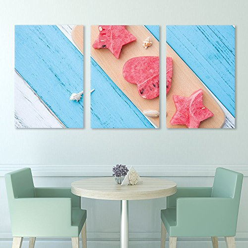 3 Panel Heart and Star Shaped Watermelon Slice on Rustic Wood Board Gallery x 3 Panels