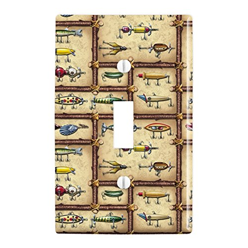 Graphics and More Antique Lures Fish Fishing Stream Fly Plastic Wall Decor Toggle Light Switch Plate Cover