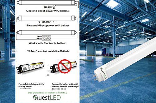 LED T8, T10, T12 Tube Light 4FT; 15W (36w Equivalent) 120-277V, Works WITH or WITHOUT Ballast, Single or Double Ended Powered; 1,950 Lumens; UL/DLC (Day Light 5000K)- 25 PACK by Quest (Image #7)