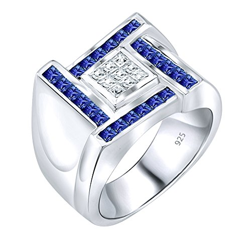 (Men's Sterling Silver .925 Designer Ring Featuring Princess Cut Invisible and Channel Set Clear and Blue Cubic Zirconia (CZ) Stones, Platinum Plated Jewelry)
