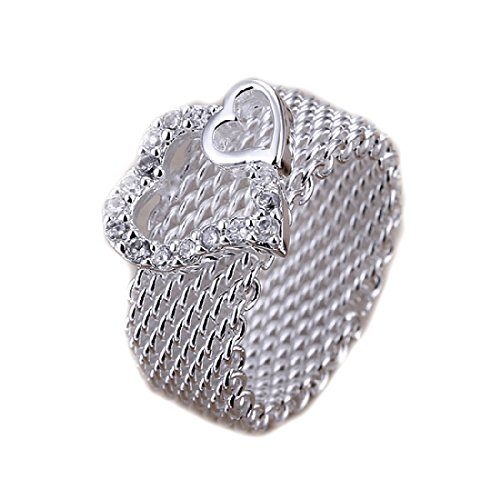lry 925 Silver Plated Fashion Women Ring Wide Net With Two Hearts Size 8 (Hot Fashion Rings)