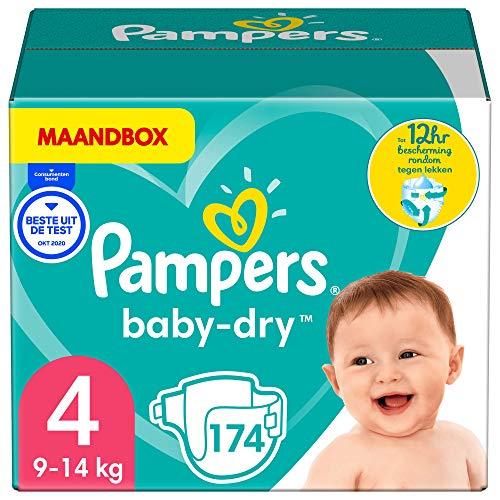 Pampers Maat 4 Baby-Dry Luiers, 174 Stuks, MAANDBOX, Tot 12 uur Bescherming rondom tegen Lekken (9-14 kg)