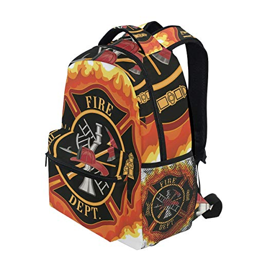 KVMV Fire Department Icon with Ladder Public Service Essential Tools of Firefighters Lightweight School Backpack Students College Bag Travel Hiking Camping Bags]()