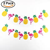 BeYumi Party Decorations Hawaii Themed Party Banner 2 Pack of Flamingo Pineapple Luau Party favors For Summer Beach Banner Room Decorations Birthday Banner
