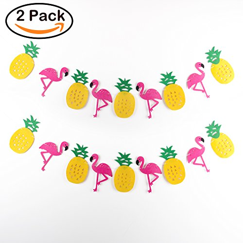 BeYumi Party Decorations Hawaii Themed Party Banner 2 Pack of Flamingo Pineapple Luau Party favors For Summer Beach Banner Room Decorations Birthday Banner by BeYumi