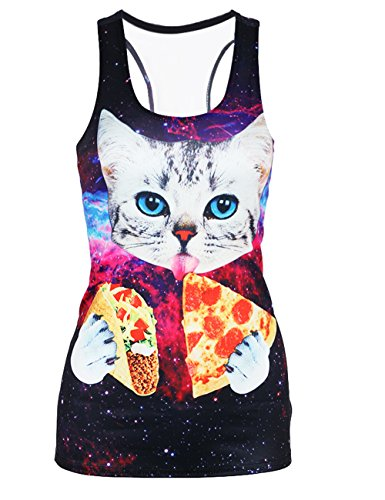 Leapparel Womens Cute Laser Cat Designed Personalized Graphic Racerback Tank Top Vest Shirts (Tank Cute Tops Women)