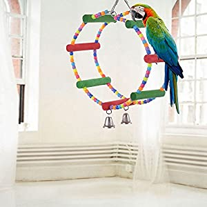 Yosoo Colorful Swing Bird Toy Parrot Rope Harness Cage Toys Parakeet Cockatiel Budgie 11