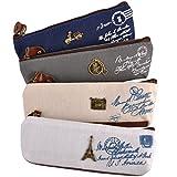 eZAKKA Mini Vintage Canvas Student Pen Pencil Case Coin Purse Pouch Cosmetic Makeup Bag Pack Of 4