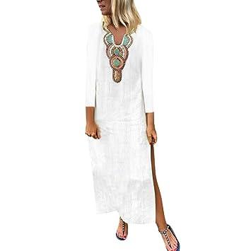 Amazon.com: Vestido de mujer de algodón y lino, corte ...