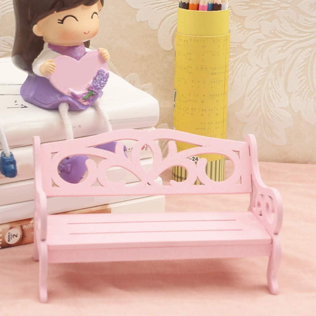 Baslinze Puppenhaus Holz Puppen Puppenhaus Miniatur M/öBel Holz DIY Bank Stuhl Kinder Spielen Spielzeug Home Decro