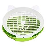 Wildgirl Cute Pet Cat Shape Open Sifting Cats Pan Litter Boxes (Green)