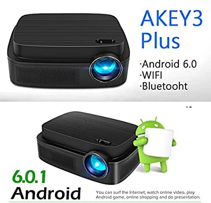 KAIDILA Proyector, Android Bluetooth proyector AKEY3 Plus, WiFi ...