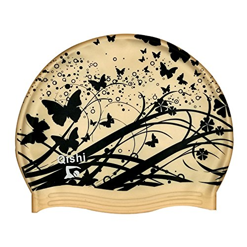 Design Womens Cap (Qishi's Gold Butterfly Printing Silicone Swimming Caps for Women)