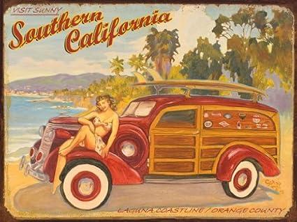Amazon.com: Laguna Coastline Metal Sign, Southern California Orange ...
