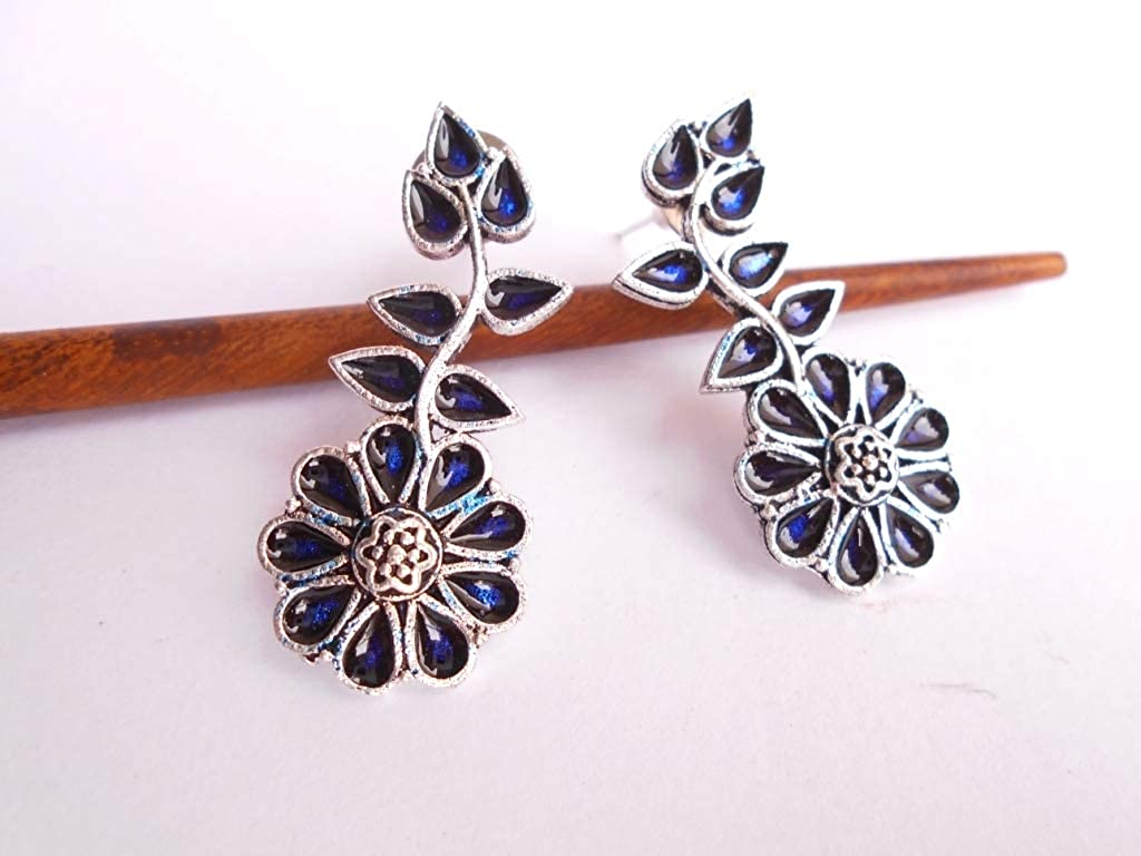 Ethnic .925 Silver Oxidized Plated Traditional Handmade Enamel Earring GS125