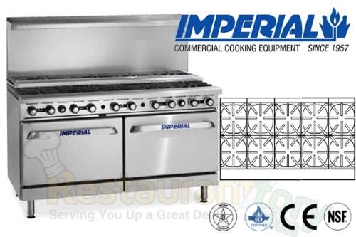 Imperial Commercial Restaurant Range 60 With 10 Step Up Burners 2 Standard Ovens Propane Ir-10-Su by Imperial