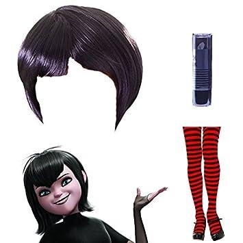 Conjunto de peluca, medias a rayas y pintalabios de Mavis