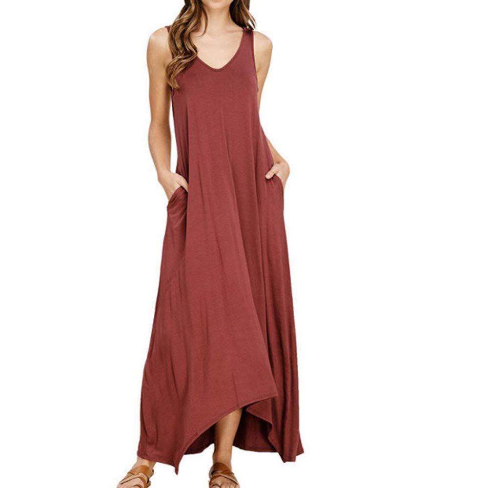 Vestido Camisero Retro De Sin Mangas Moda Oto/ño Primavera y oto/ño Camisa Casual Vestido De Gran Tama/ño Vestido de Playa GUCIStyle Vestido de Bolsillo Mujer