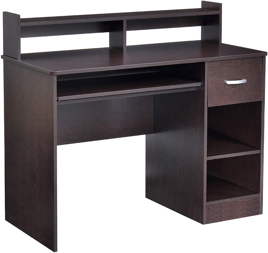 ROCKPOINT Axess Computer Desk with Keyboard Tray, Cherry brown