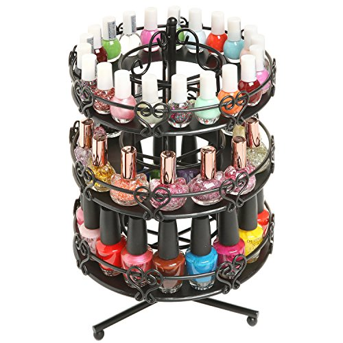 MyGift 3 Tier Salon Style Black Metal Spinning Carousel, used for sale  Delivered anywhere in USA